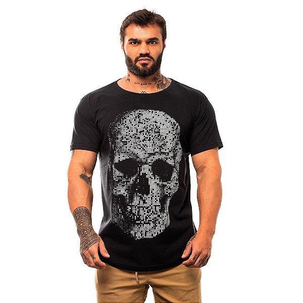 Camiseta Longline Masculina MXD Conceito Limitada Skull Points