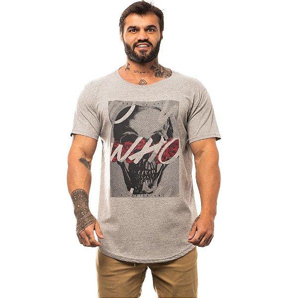 Camiseta Longline Masculina MXD Conceito Limitada Who Caveira Rosas Vermelhas