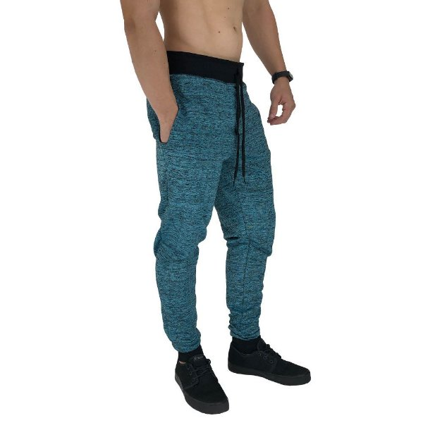 Calça Masculina Moletom MXD Conceito Azul Turquesa Rajado