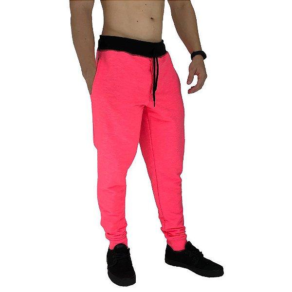 Calça Masculina Moletom MXD Conceito Rosa Fluorescente