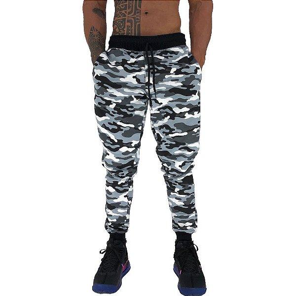 Calça Masculina Moletom MXD Conceito Camuflado Cinza Escuro