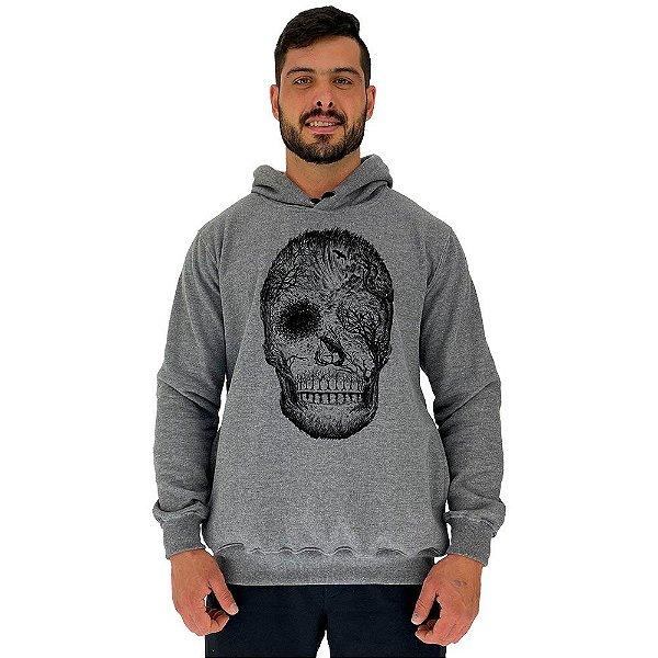 Blusa Moletom Masculino MXD Conceito Com Touca Florest Skull Black