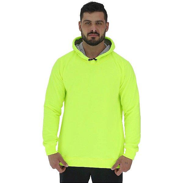 Blusa Moletom Masculino MXD Conceito Com Touca Amarelo Fluorescente