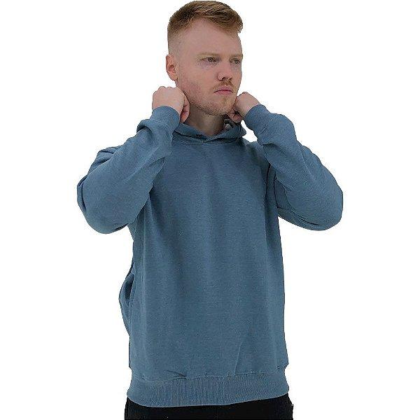 Blusa Moletom Masculino MXD Conceito Com Touca Azul Bebê