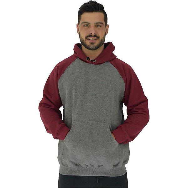 Blusa Moletom Masculino MXD Conceito Com Touca Mescla Escuro Detalhes Bordo