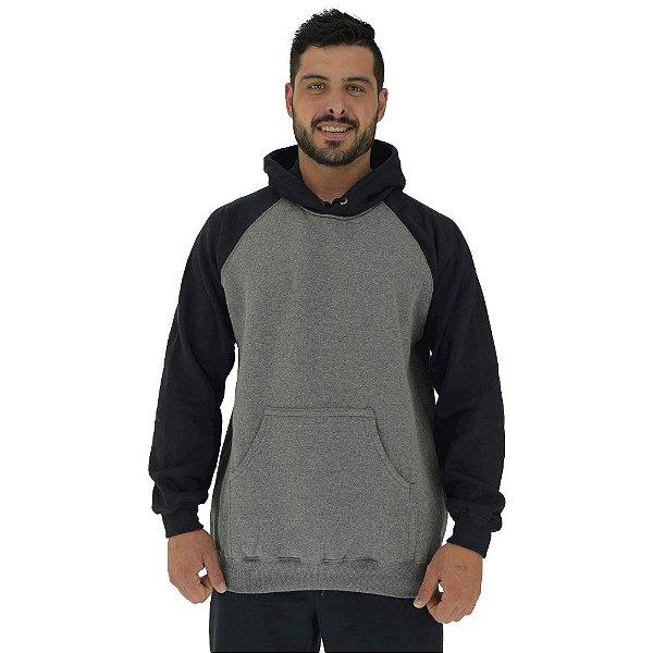 Blusa Moletom Masculino MXD Conceito Com Touca Mescla Escuro Detalhes Preto