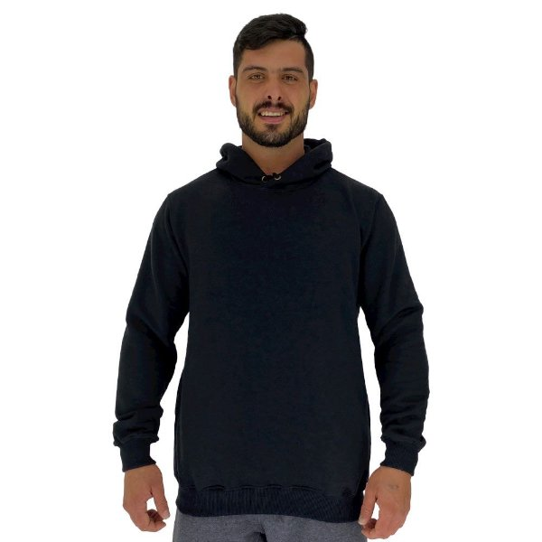 Blusa Moletom Masculino MXD Conceito Com Touca Preto Básico