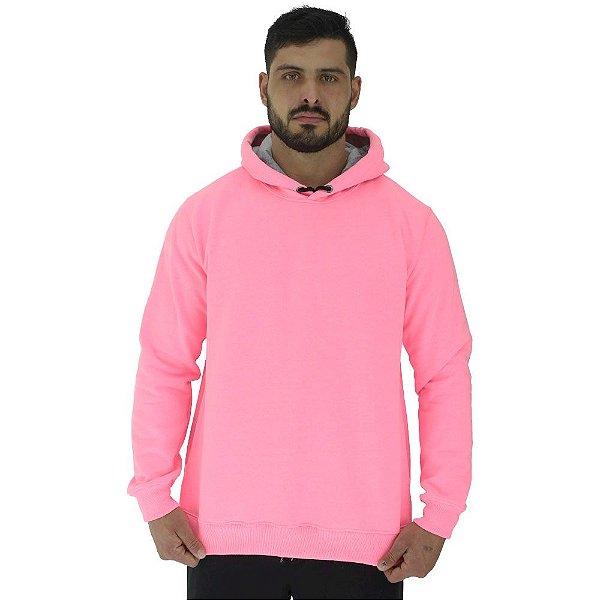 Blusa Moletom Masculino MXD Conceito Com Touca Rosa Fluorescente
