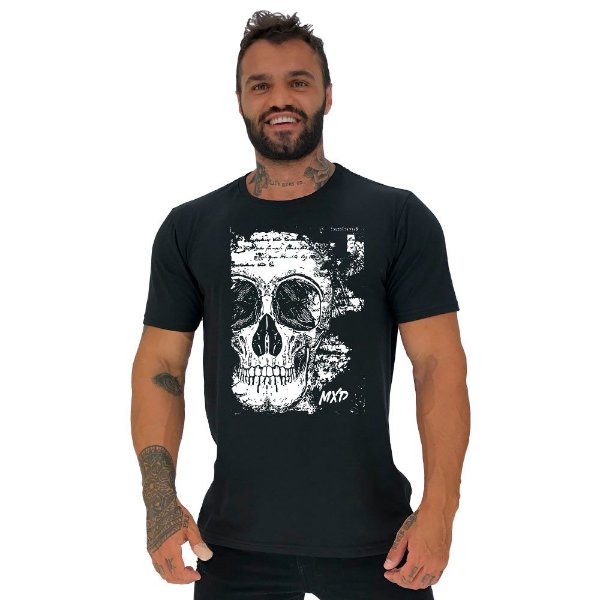 Camiseta Tradicional Masculina Manga Curta MXD Conceito Scribbled Skull Manuscrito