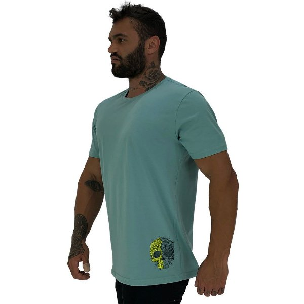 Camiseta Tradicional Masculina MXD Conceito Estampa Lateral Caveira Duas Cores