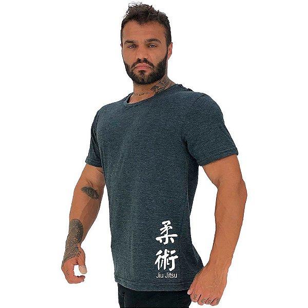 Camiseta Tradicional Masculina MXD Conceito Estampa Lateral Jiu Jitsu