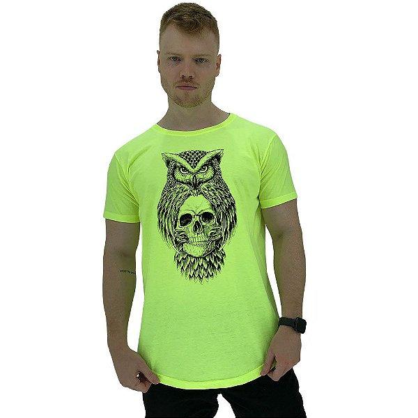 Camiseta Longline Manga Curta MXD Conceito Coruja Sábia com Caveira