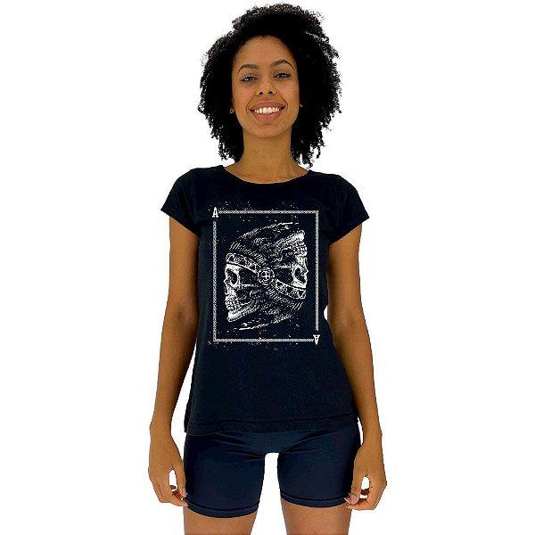 Camiseta Babylook Feminina MXD Conceito Carta de Baralho Indígena