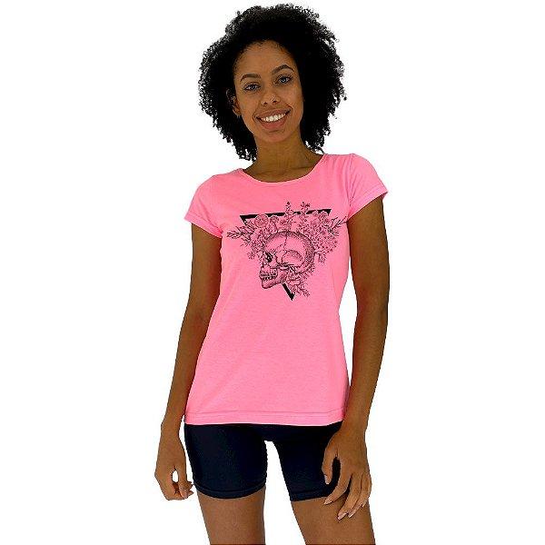 Camiseta Babylook Feminina MXD Conceito Caveira e Rosas