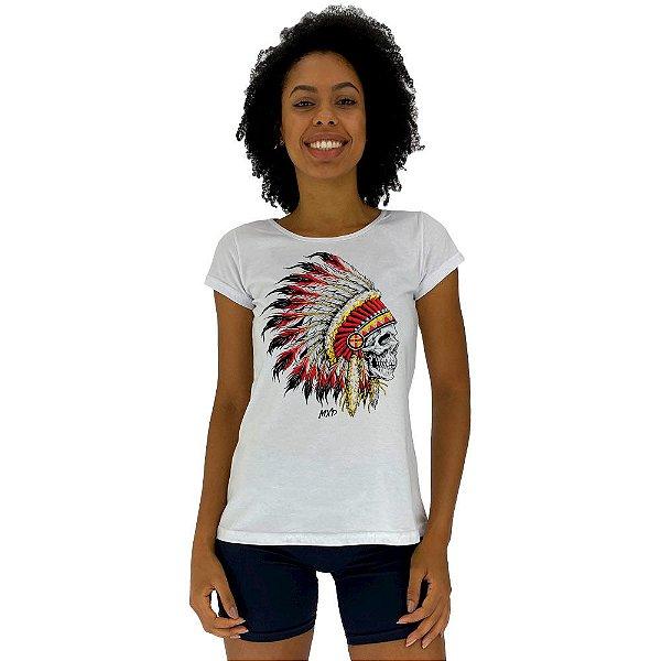 Camiseta Babylook Feminina MXD Conceito Caveira Índio