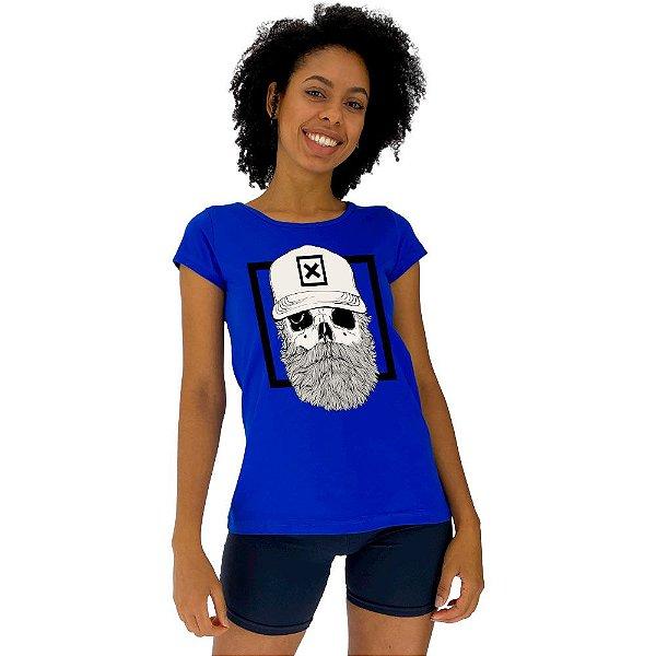 Camiseta Babylook Feminina MXD Conceito Caveira Lenhadora
