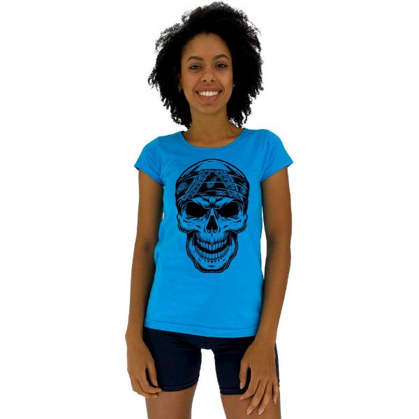 Camiseta Babylook Feminina MXD Conceito Caveira Motoqueira