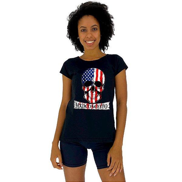 Camiseta Babylook Feminina MXD Conceito Caveira Patriota Americano