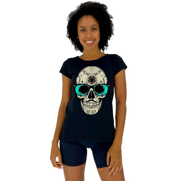 Camiseta Babylook Feminina MXD Conceito Caveira Popstar