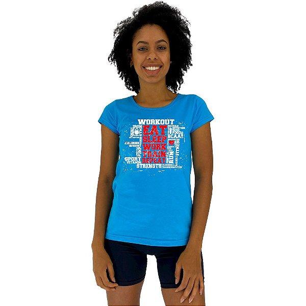 Camiseta Babylook Feminina MXD Conceito Workout Exercite-se