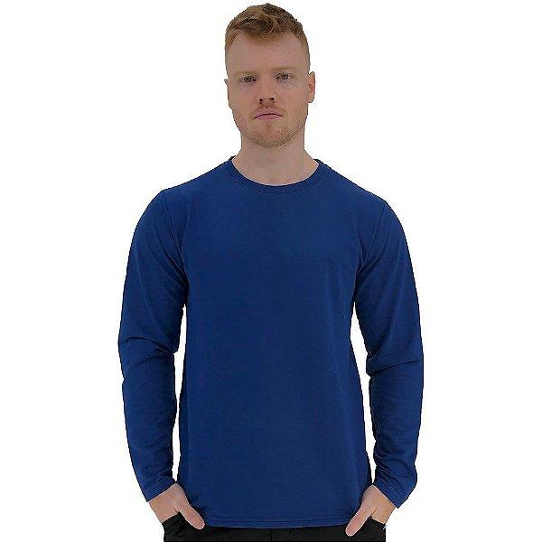 Camiseta Manga Longa Masculina MXD Conceito Azul