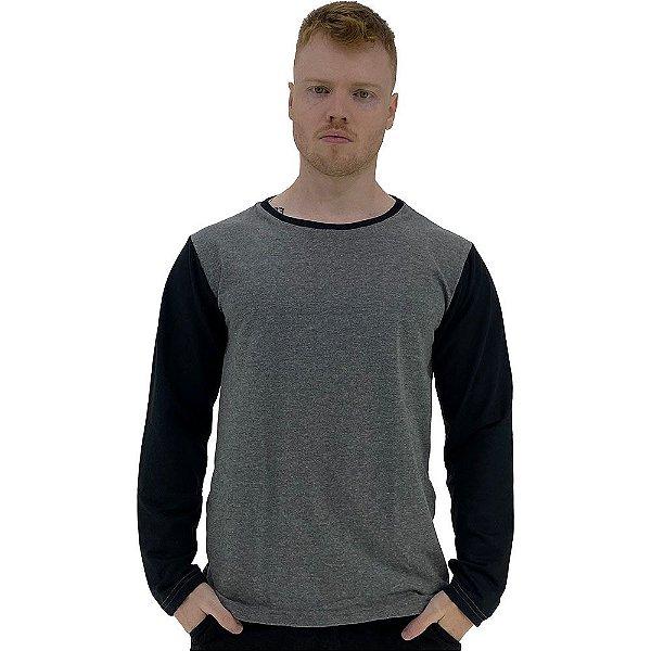 Camiseta Manga Longa Masculina MXD Conceito Mescla Escuro e Preto