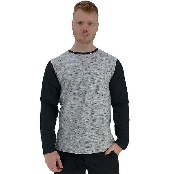 Camiseta Manga Longa Masculina MXD Conceito Rajado Jet Detalhes Pretos