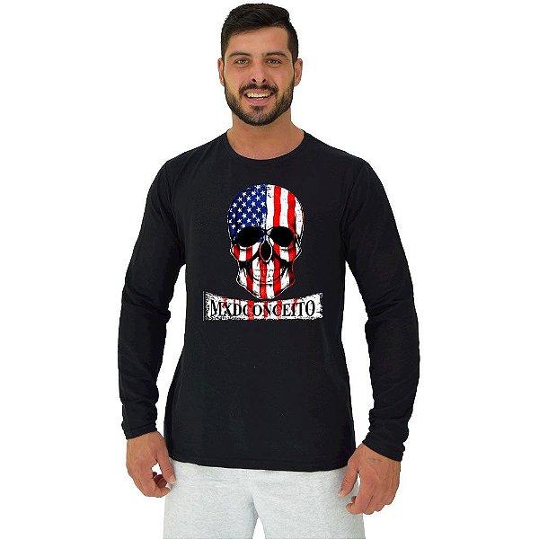 Camiseta Manga Longa Moletinho MXD Conceito American Skull
