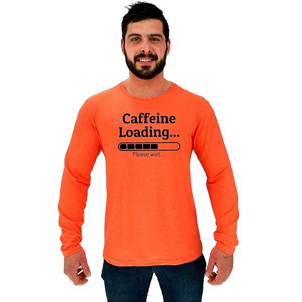 Camiseta Manga Longa Moletinho MXD Conceito Caffeine Loading Café