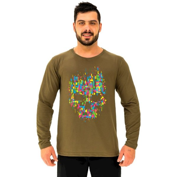Camiseta Manga Longa Moletinho MXD Conceito Caveira Abstrata Color