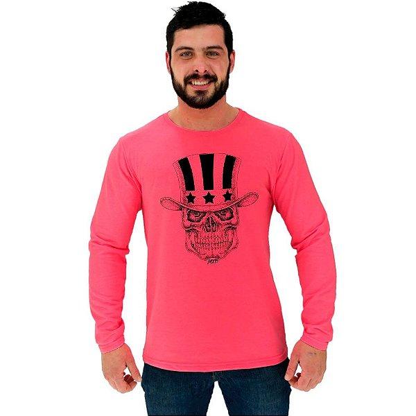 Camiseta Manga Longa Moletinho MXD Conceito Caveira Com Cartola