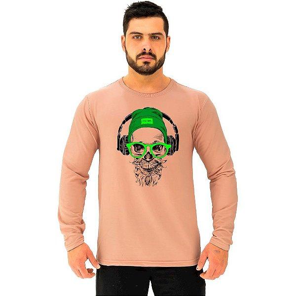 Camiseta Manga Longa Moletinho MXD Conceito Caveira De Headset