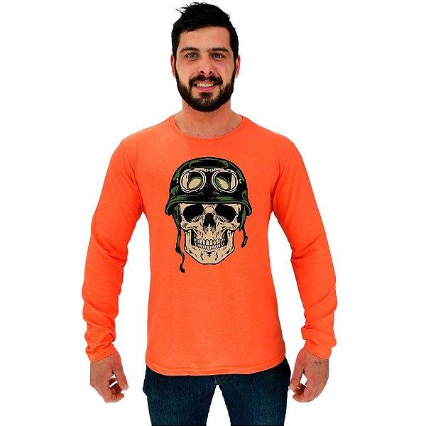 Camiseta Manga Longa Moletinho MXD Conceito Caveira Militar Skull Hard