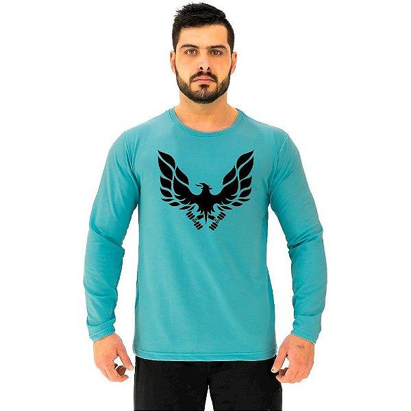 Camiseta Manga Longa Moletinho MXD Conceito Fênix Águia BodyBuilder