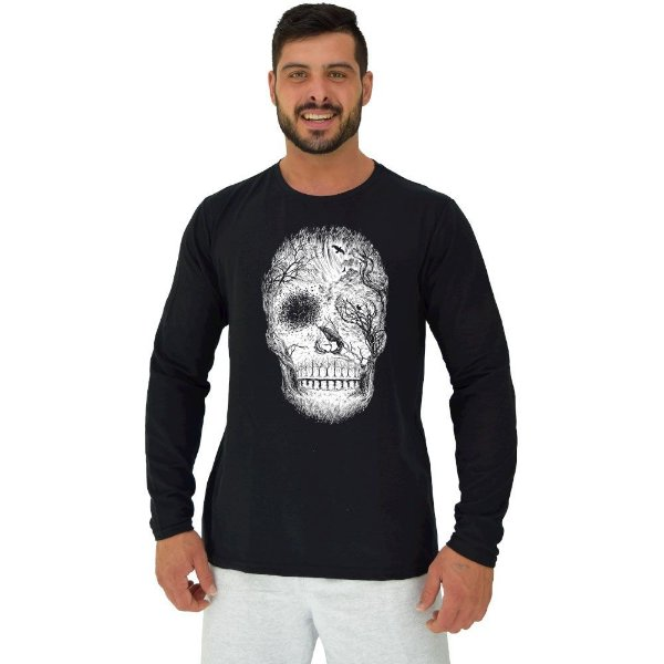Camiseta Manga Longa Moletinho MXD Conceito Forest Skull Caveira Floresta