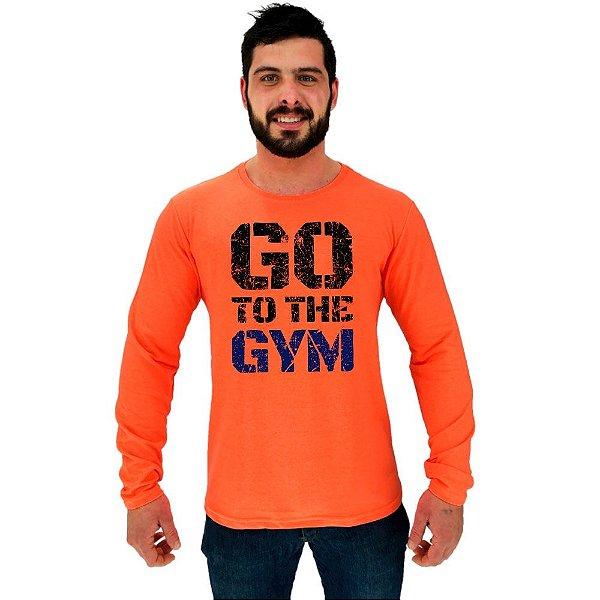 Camiseta Manga Longa Moletinho MXD Conceito Go To The Gym Bora Para Academia