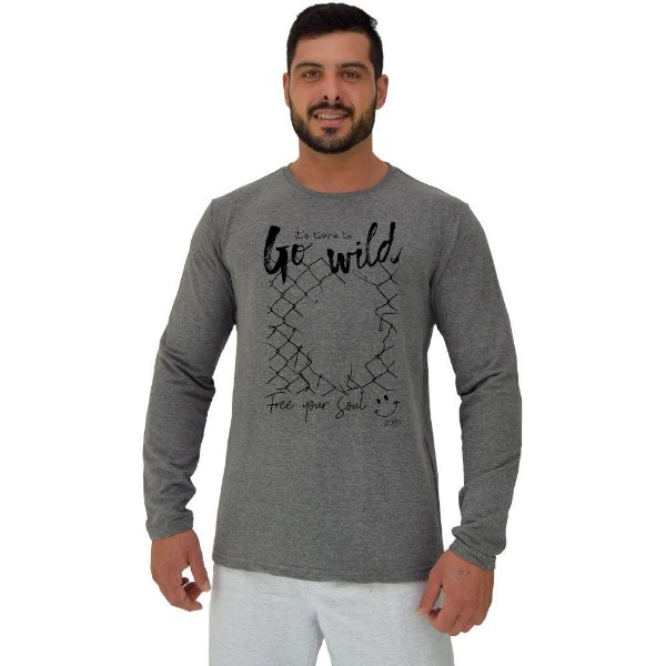 Camiseta Manga Longa Moletinho MXD Conceito Go Wild Enlouquecer