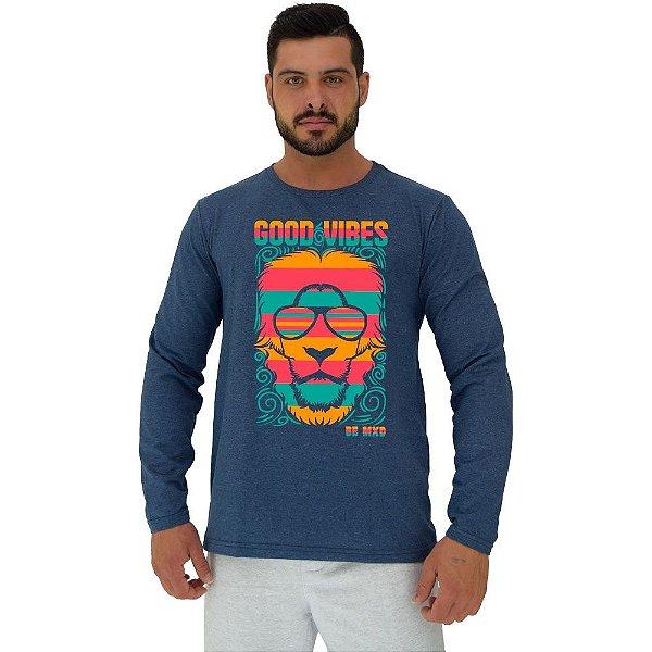 Camiseta Manga Longa Moletinho MXD Conceito Lion Good Vibes