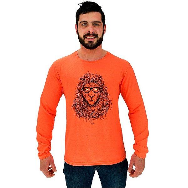 Camiseta Manga Longa Moletinho MXD Conceito Lion Leão Guerreiro Intelectual