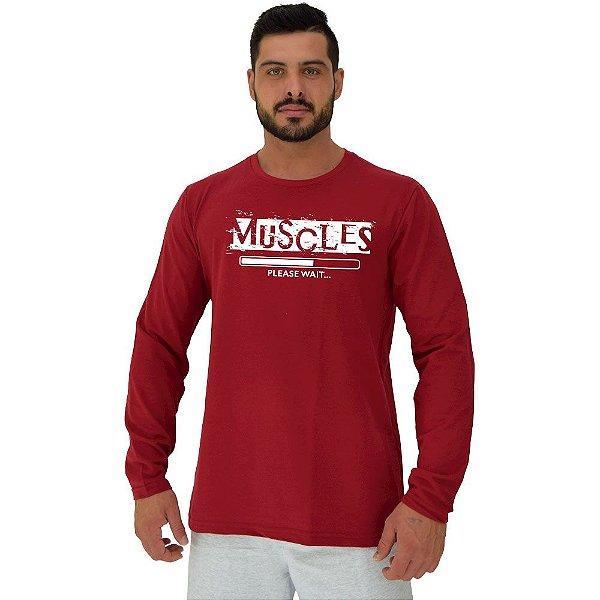 Camiseta Manga Longa Moletinho MXD Conceito Muscles Músculos Instalando