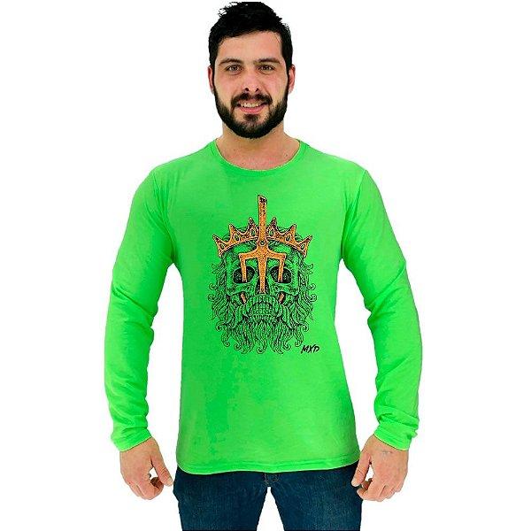 Camiseta Manga Longa Moletinho MXD Conceito Poseidon Rei Dos Mares