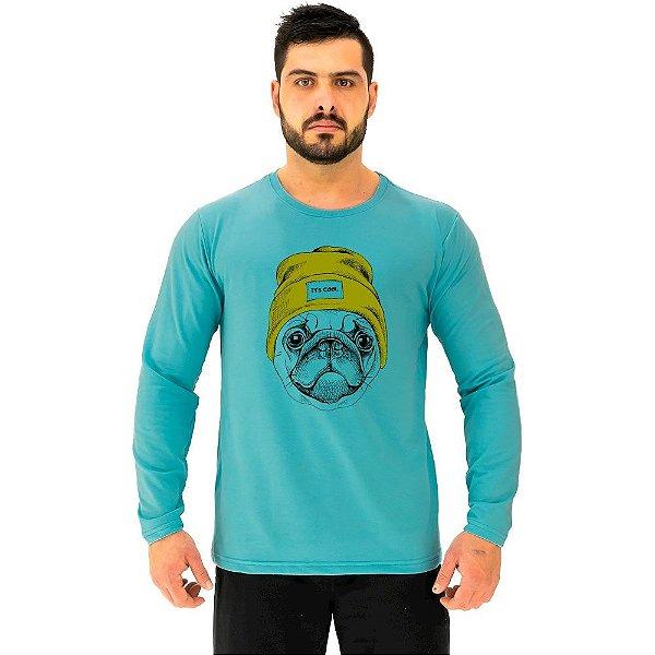 Camiseta Manga Longa Moletinho MXD Conceito Pug De Touca
