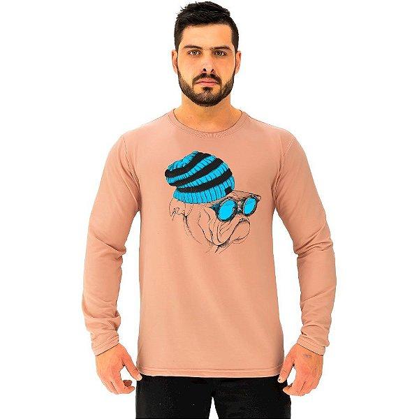 Camiseta Manga Longa Moletinho MXD Conceito Pug Hipster Esiloso
