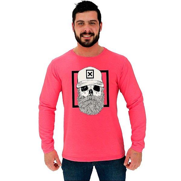 Camiseta Manga Longa Moletinho MXD Conceito Skull Beard X Boné