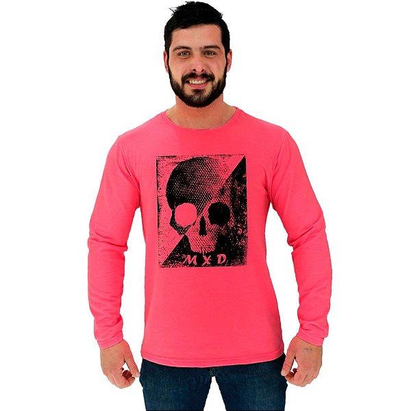 Camiseta Manga Longa Moletinho MXD Conceito Skull Black & White Moldura