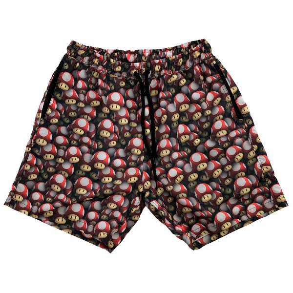 Shorts Praia Tactel Masculino MXD Conceito Mario Mushrooms