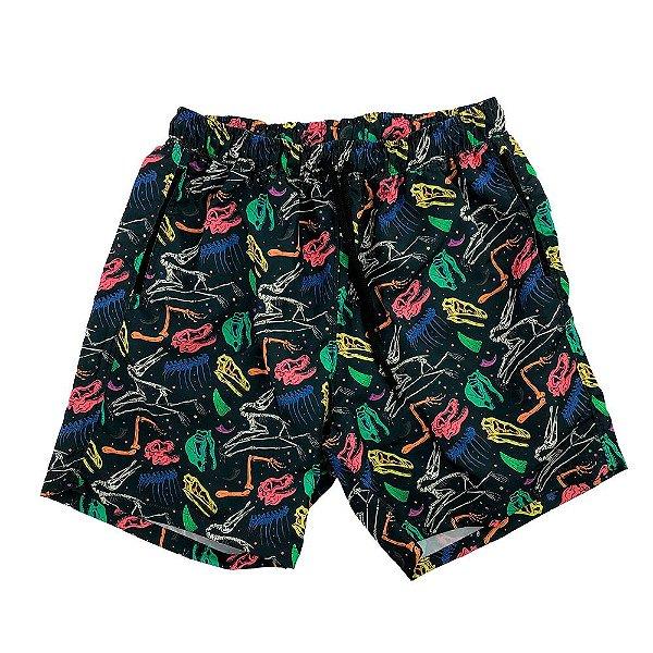 Shorts Praia Tactel Masculino MXD Conceito Dinosaur Rainbow