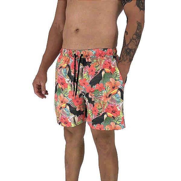 Shorts Praia Tactel Masculino MXD Conceito Tucano Flowers