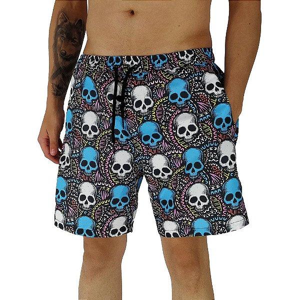 Shorts Praia Tactel Masculino MXD Conceito Caveiras Coloridas