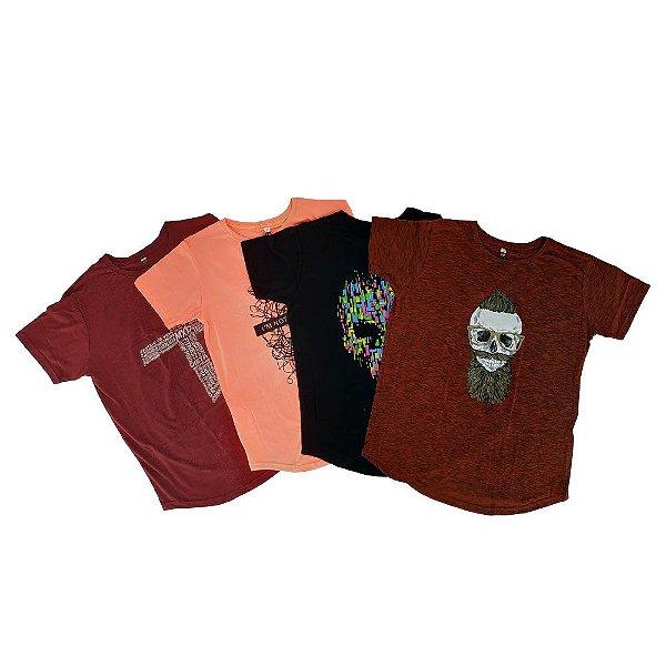Kit 4 Unidades Camisetas Longline E Camiseta Tradicional MXD Conceito Sortidas